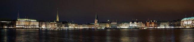 Фартук для кухни скинали Гамбург город ночью.
