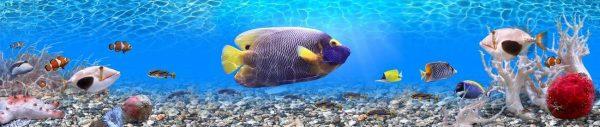 Фартук для кухни скинали подводный мир океана с рыбами.