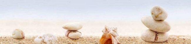 Фартук для кухни изображение ракушка на песке